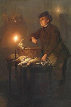 Wildverkoper op de Groenmarkt in Den Haag, bij avond (ca. 1868) - Petrus van Schendel (1806-1870).