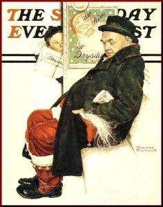 Santa on a Train - Saturday Evening Post 1940