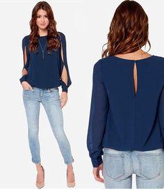 0e5c8d2cf6b05 UK Women Casual Loose Chiffon Split Long Sleeve Blouse Shirt Tops Plus Size  8-18