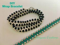 Crystal Bead Thin Bracelet Making, Wrap Bracelet Tutorial, Beaded Bracelets Tutorial, Diy Bracelets Easy, Beaded Bracelet Patterns, Beaded Wrap Bracelets, Crochet Bracelet, Seed Bead Bracelets, Ankle Bracelets, Zipper Bracelet