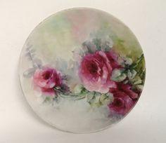 T  V Limoges France Hand Painted Plate/Antique Limoges Plate/Vintage Hand Painted Porcelain Plate/Limoges Plate/Hand Painted Pink Roses