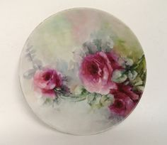 T  V Limoges France Hand Painted Plate/Antique Limoges Plate/Vintage Hand Painted Porcelain Plate/Limoges Plate/Hand Painted Pink Roses