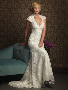 Cheapest Seductive Cap Style V-neck Flowers Satin Covered Lace Court Train Wedding Dress in Mermaid  (LWD-004) Online