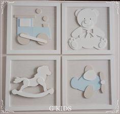Quadros Bebê Brinquedos Kit 4 quadros Decoração