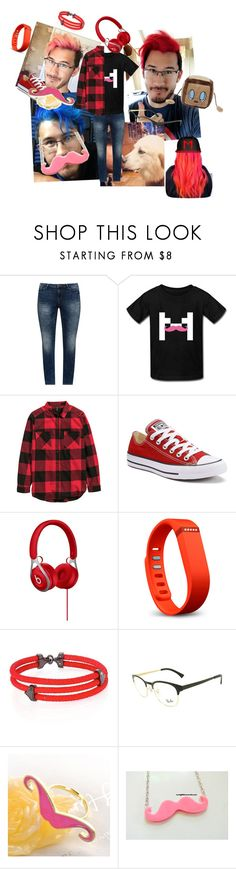"""""""Markiplier / Mark Edward Fischbach"""" by iizafan ❤ liked on Polyvore featuring JunaRose, H&M, Converse, Fitbit, StingHD, Ray-Ban and Fit-to-Kill"""