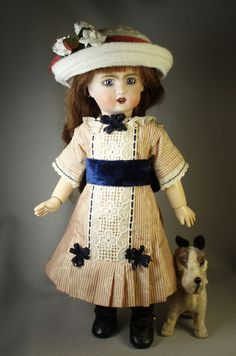 Bleuette Dress using LSDS pattern; wool hat sewn from strips of felt; both stitched by House-of-Bleus
