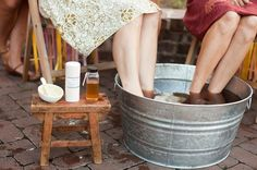 Sweet tea pedicure with honey, lemon, and One Love Organics products