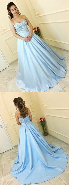 7bdb0d933f0 A-Line Sweetheart Sweep Train Light Blue Prom Dress with Appliques
