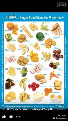 Finger Food Chart 9 Month Old