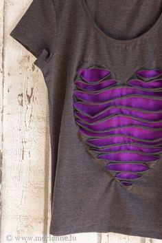 diy heart cut-out T-shirt