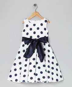 Take a look at this Kid Fashion Black & White Polka Dot Bow Dress - Infant, Toddler & Girls on zulily today!