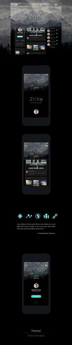 Zrille personalized design by goat jop, via Behance Iphone App Design, Web Ui Design, Layout Design, Design Design, Gui Interface, User Interface Design, Mobile Web Design, Apps, Application Design