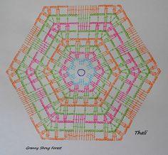 Le diagramme et les explications pour la réalisation du shrug forest . Art Au Crochet, Pull Crochet, Crochet Motifs, Crochet Cross, Crochet Mandala, Crochet Diagram, Crochet Stitches Patterns, Crochet Squares, Granny Squares