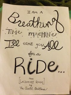 """Hand lettered """"Laundry Room"""" by the Avett Brothers"""