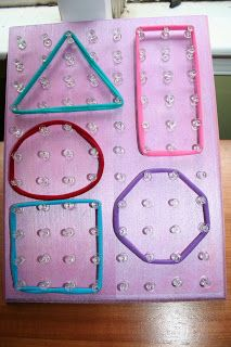 Pink and Green Mama: Preschool At Home: Homemade Geoboard - I've got wood and nails. Kids can make it ! Preschool At Home, Fun Math, Toddler Preschool, Preschool Activities, Preschool Projects, Kids Crafts, Educational Activities, Learning Activities, Diy Peg Board