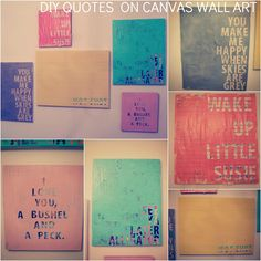 tutorial on how to cover canvas with newspaper, apply quote, paint then remove letters