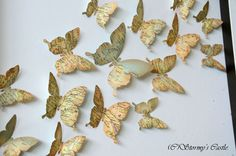 """Detail of my """"Travelling Butterflies"""" artwork created from a vintage atlas."""