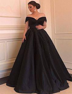1ddd749086 V-neck Off The Shoulder Long Black Satin Plus Size Prom Dresses Beaded  Waistline