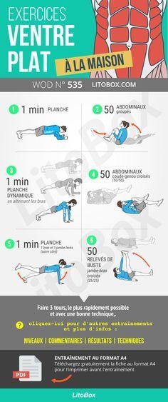 Spécial abdominaux à la maison : exercices pour développer une belle sangle abdominale ! Pilates Training, Training Fitness, Yoga Fitness, Health Fitness, Hiit, Intensives Training, How To Get Abs, Muscle, Plyometrics