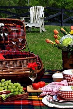 :)  perfect plaid picnic basket and blanket