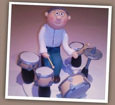 Drummer and drum kit clay cake topper