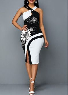 Party Dresses For Women Lotus Print Side Slit Cross Front Sheath Dress Sexy Dresses, Dress Outfits, Fashion Outfits, Sheath Dresses, Party Dresses, African Fashion Dresses, African Dress, Classy Dress, Classy Outfits