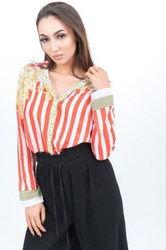 dfae8e6ca7f4fd Katch Me · Tops · Red Striped Baroque Print Shirt