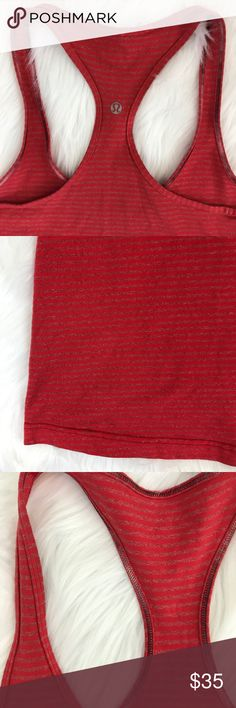 """Lululemon Cool Racerback Tank {S1} Fiery Red color with heathered stripes.  No size dot, but I'm pretty sure this is a size 10.  Excellent condition.  Measurements laying flat: Length: 28"""" Chest: 16"""" lululemon athletica Tops Tank Tops"""