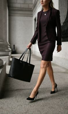 TOP 10 WORKWEAR ESSENTIALS //  Classic burgundy sheath dress + tailored jacket, black tote bag, stiletto pumps + gold hoop earrings {Jimmy Choo, Hugo Boss, professional attire, office style staples, classic suit}