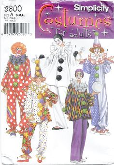 Simplicity 9800 Adult Clown Costume & Hat Sewing Pattern Chest Bust 32 to 42 by Denisecraft on Etsy
