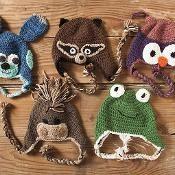 Crochet domestic zoo of animal hats