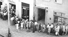 Queue waiting to enter a state-run store, typical sight in Poland in the 1950s and 1980s