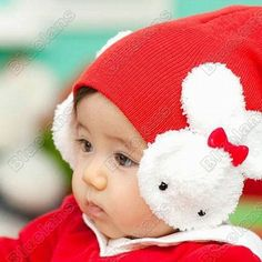 Discount China china wholesale Lovely Wool Baby Winter Hats 2 White Rabbit Butterfly Kids cap [5577] - US$12.48 : DealsChic