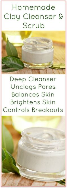This Homemade Clay Facial Cleanser Recipe deep cleans, unclogs pores, gently exfoliates, calms acne & redness. DIY face scrub & cleanser for all skin types. Homemade Clay, Homemade Skin Care, Homemade Beauty Products, Diy Skin Care, Skin Care Tips, Homemade Face Cleanser, Homemade Facials, Homemade Face Scrubs, Homemade Face Exfoliator