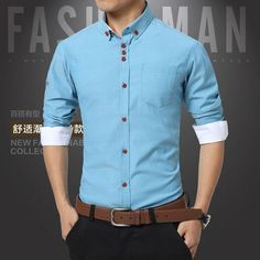0a1695c1b57a Summer Mens Dress Shirts Cotton Solid Casual Shirt Men Slim Fit Plus Size  Long sleeve Stylish Shirt Fashion Plus Size M-5XL