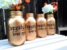Happily Ever After- Gold Mason Jar Vase- Hand Painted Words- Wedding Decor-Centerpieces-Bridal Shower- Disney Inspired-Quart Size-