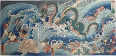 Tamatori Attacks the Dragon Palace by Kuniyoshi (1853). Tamatori, an ama (deep-sea diver), was sent to retrieve a treasured pearl, but was chased by octopuses, fish, and crocodiles sent by the dragon king.