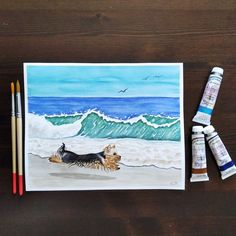 Yorkshire portrait watercolor painting, Dog running at the beach, Yorkshire at the beach, Christmas gift, Watercolor painting, Tropical art