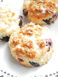 blueberry lemon scones. my first attempt at scones was a bust, hope this recipe is better.