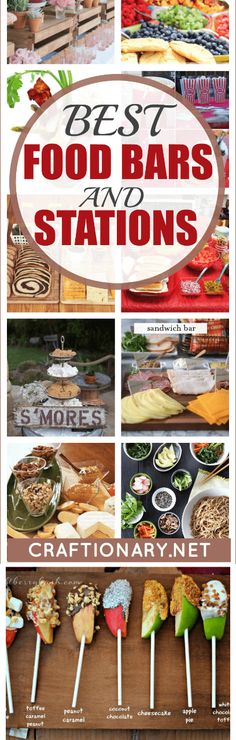Best food bars and food stations with luxurious decor style - Craftionary Party Food Bars, Best Party Food, Party Stations, Food Stations, Pizza Station, Mini Fruit Pizzas, Breakfast Parfait, Sandwich Bar, Hot Chocolate Bars