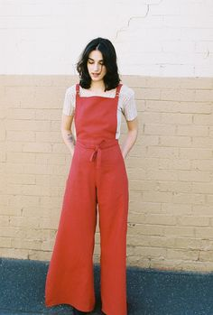 wide leg red overalls