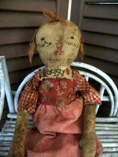 VERY Primitive EXTREME Primitive Raggedy Ann Old by mustardseed
