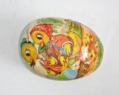 Antique Paper Mache Easter Egg, Vintage German Egg, Extra Large by BeeJayKay on Etsy https://www.etsy.com/listing/218749879/antique-paper-mache-easter-egg-vintage