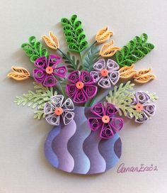 Quilling. Flowers in a small vase. By Canan Ersöz.
