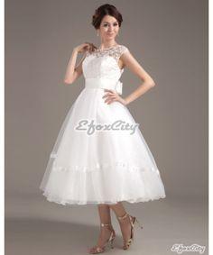 A Line wedding dress/Organza Lace bridal gown/Tea by eFoxcity, $128.00
