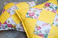 Grandmother's pillows, Yellow & Flowers, patchwork Šiju-Žiju.cz Yellow Flowers, Throw Pillows, Quilts, Blanket, Scrappy Quilts, Toss Pillows, Cushions, Quilt Sets, Decorative Pillows