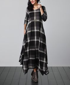 Look at this #zulilyfind! Charcoal Plaid Handkerchief Maxi Dress #zulilyfinds