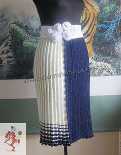 "Купить Вязаная юбка плиссе ""День и ночь"" - вязаная юбка, вязание на заказ…"