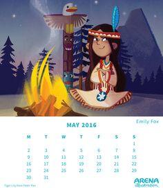 Arena Calendar- May Emily Fox Calendar May, Peter Pan, 9 And 10, Illustrators, Disney Characters, Fictional Characters, Fox, Lily, Disney Princess