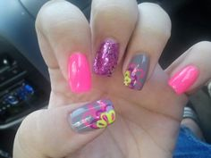 pink, gray, and purple glitter with pink, purple and yellow flowers nails!